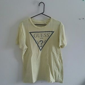 Mens Guess Yellow T Shirt Size Medium